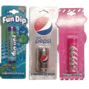 5/$25 Lot 3 lip balm Apple, strawberry, diet Pepsi